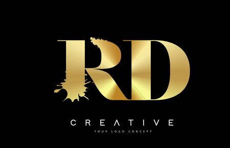 RD R D Letter Logo with Gold Melted Metal Splash Vector Design Illustration. Logó