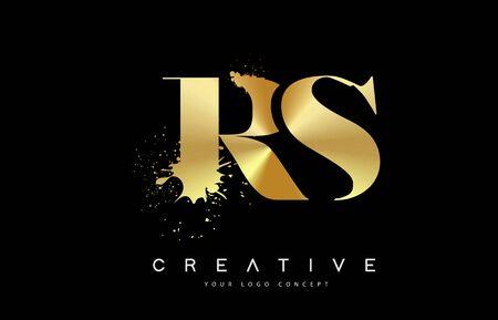RS R S Letter Logo with Gold Melted Metal Splash Vector Design Illustration.