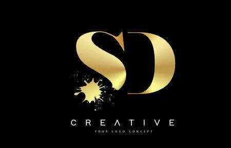 SD S D Letter Logo with Gold Melted Metal Splash Vector Design Illustration.  イラスト・ベクター素材