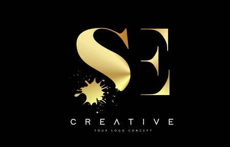 SE S E Letter Logo with Gold Melted Metal Splash Vector Design Illustration.