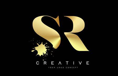 SR S R Letter Logo with Gold Melted Metal Splash Vector Design Illustration.