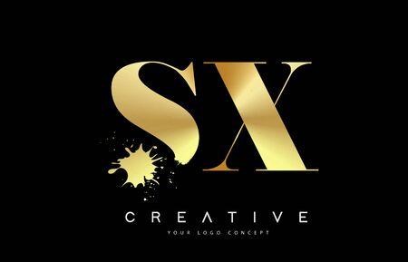 SX S X Letter Logo with Gold Melted Metal Splash Vector Design Illustration.