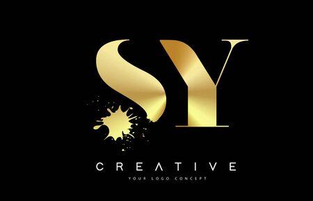 SY S Y  Letter Logo with Gold Melted Metal Splash Vector Design Illustration.