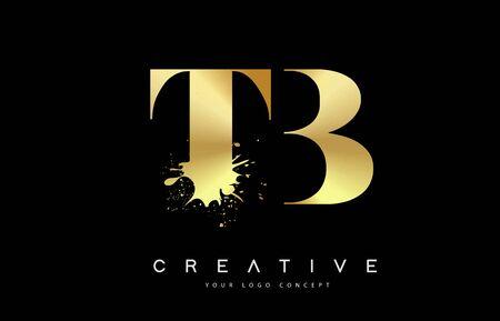 TB T B Letter Logo with Gold Melted Metal Splash Vector Design Illustration.