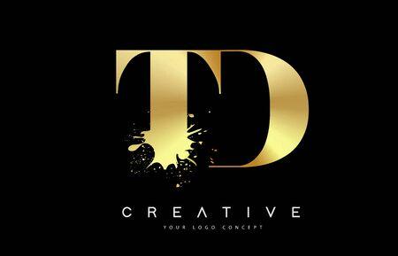 TD T D Letter Logo with Gold Melted Metal Splash Vector Design Illustration.