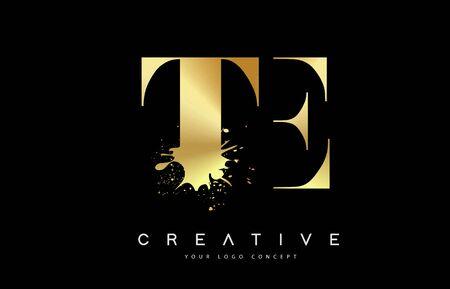 TE T E Letter Logo with Gold Melted Metal Splash Vector Design Illustration.