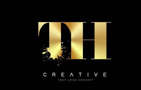 TH T H Letter Logo with Gold Melted Metal Splash Vector Design Illustration.