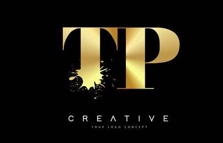 TP T P Letter Logo with Gold Melted Metal Splash Vector Design Illustration.