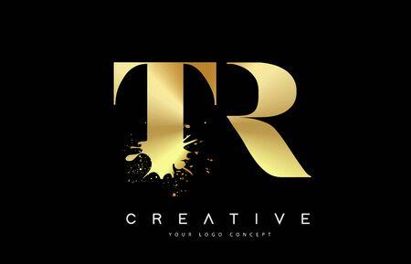 TR T R Letter Logo with Gold Melted Metal Splash Vector Design Illustration. Logó