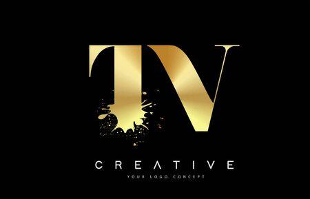 TV; T; V; Letter Logo with Gold Melted Metal Splash Vector Design Illustration.  イラスト・ベクター素材
