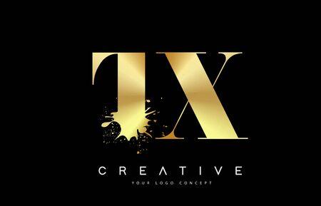 TX T X Letter Logo with Gold Melted Metal Splash Vector Design Illustration.