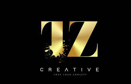 TZ T Z Letter Logo with Gold Melted Metal Splash Vector Design Illustration.