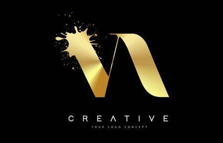 VA V A Letter Logo with Gold Melted Metal Splash Vector Design Illustration.  イラスト・ベクター素材