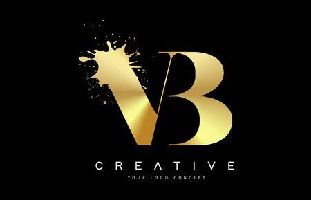 VB V B Letter Logo with Gold Melted Metal Splash Vector Design Illustration.