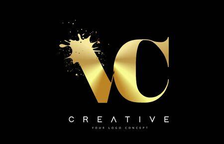 VC V C Letter Logo with Gold Melted Metal Splash Vector Design Illustration.