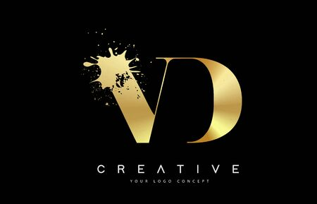 VD V D Letter Logo with Gold Melted Metal Splash Vector Design Illustration.