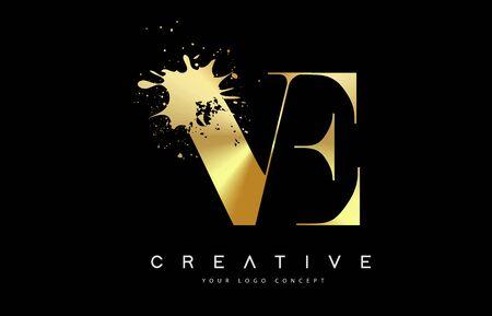 VE V E Letter Logo with Gold Melted Metal Splash Vector Design Illustration.