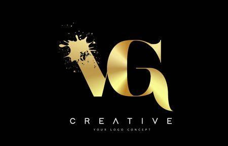 VG V G Letter Logo with Gold Melted Metal Splash Vector Design Illustration.