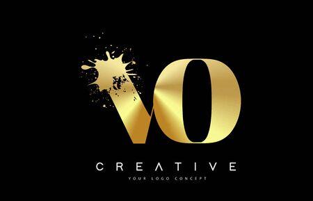VO V O Letter Logo with Gold Melted Metal Splash Vector Design Illustration.