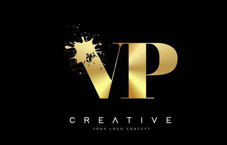 VP V P Letter Logo with Gold Melted Metal Splash Vector Design Illustration.  イラスト・ベクター素材