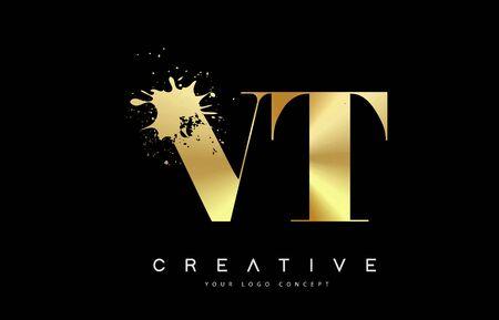 VT V T Letter Logo with Gold Melted Metal Splash Vector Design Illustration.
