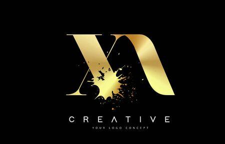XA X A Letter Logo with Gold Melted Metal Splash Vector Design Illustration.