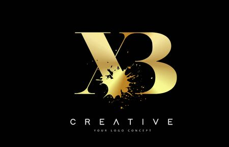 XB X B Letter Logo with Gold Melted Metal Splash Vector Design Illustration.