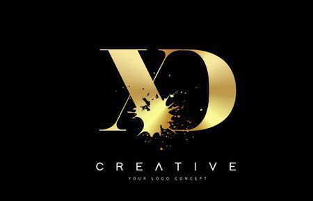 XD X D Letter Logo with Gold Melted Metal Splash Vector Design Illustration.
