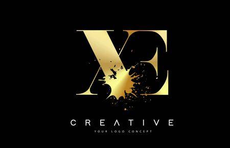 XE X E Letter Logo with Gold Melted Metal Splash Vector Design Illustration.  イラスト・ベクター素材