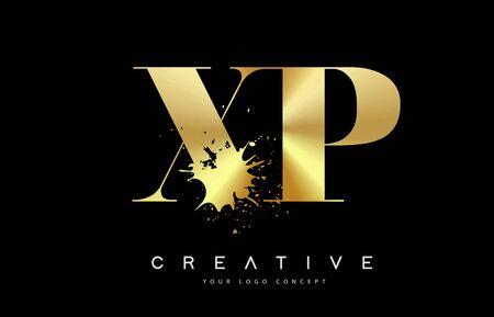 XP X P Letter Logo with Gold Melted Metal Splash Vector Design Illustration.  イラスト・ベクター素材