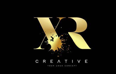 XR X R Letter Logo with Gold Melted Metal Splash Vector Design Illustration.  イラスト・ベクター素材