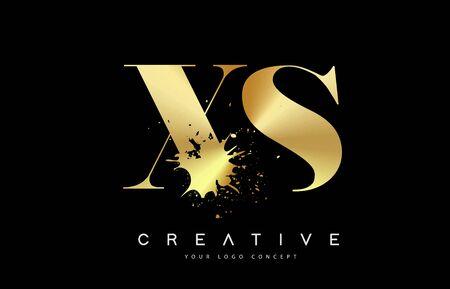 XS X S Letter Logo Design with Black Ink Watercolor Splash Spill Vector Illustration.