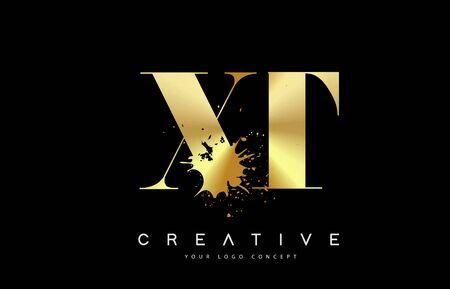 XT X T Letter Logo with Gold Melted Metal Splash Vector Design Illustration.