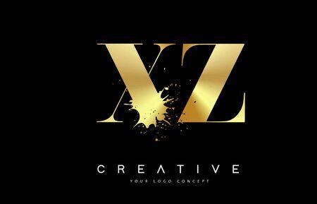 XZ X Z Letter Logo Design with Black Ink Watercolor Splash Spill Vector Illustration.  イラスト・ベクター素材