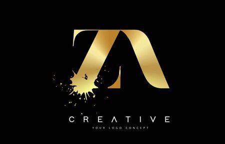 ZA Z A Letter Logo with Gold Melted Metal Splash Vector Design Illustration.