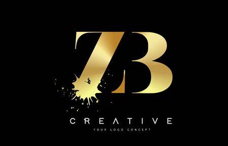 ZB Z B Letter Logo with Gold Melted Metal Splash Vector Design Illustration.