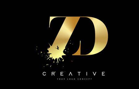ZD Z D Letter Logo with Gold Melted Metal Splash Vector Design Illustration.
