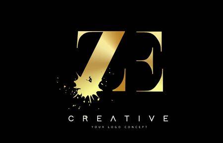 ZE Z E Letter Logo with Gold Melted Metal Splash Vector Design Illustration.
