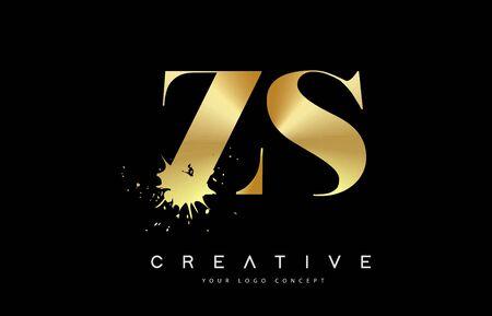 ZS Z S Letter Logo with Gold Melted Metal Splash Vector Design Illustration.
