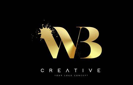 WB W B Letter Logo with Gold Melted Metal Splash Vector Design Illustration.