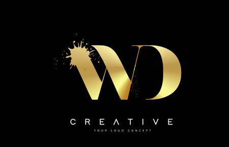 WD W DLetter Logo with Gold Melted Metal Splash Vector Design Illustration.  イラスト・ベクター素材