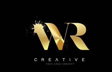 WR W R Letter Logo with Gold Melted Metal Splash Vector Design Illustration.