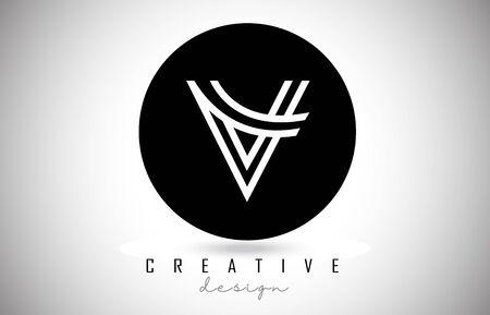 V Letter Logo Monogram Design. Creative V Letter Icon with Black Lines Vector Illustration.