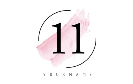 Number 11 Watercolor Stroke Logo with Circular Shape and Pastel Pink Brush Vector Design 일러스트