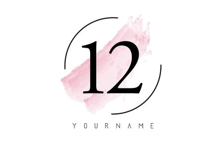 Number 12 Watercolor Stroke Logo with Circular Shape and Pastel Pink Brush Vector Design 일러스트