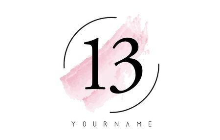 Number 13 Watercolor Stroke Logo with Circular Shape and Pastel Pink Brush Vector Design 일러스트