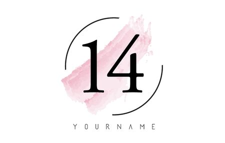 Number 14 Watercolor Stroke Logo with Circular Shape and Pastel Pink Brush Vector Design
