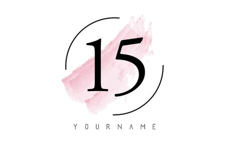 Number 15 Watercolor Stroke Logo with Circular Shape and Pastel Pink Brush Vector Design