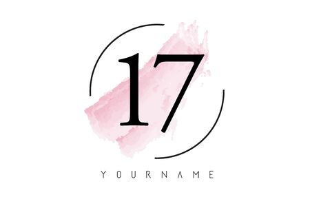 Number 17 Watercolor Stroke Logo with Circular Shape and Pastel Pink Brush Vector Design