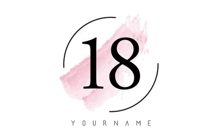 Number 18 Watercolor Stroke Logo with Circular Shape and Pastel Pink Brush Vector Design